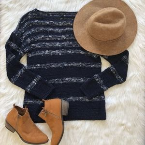 Talbots | Navy and White Striped Sweater Talbots